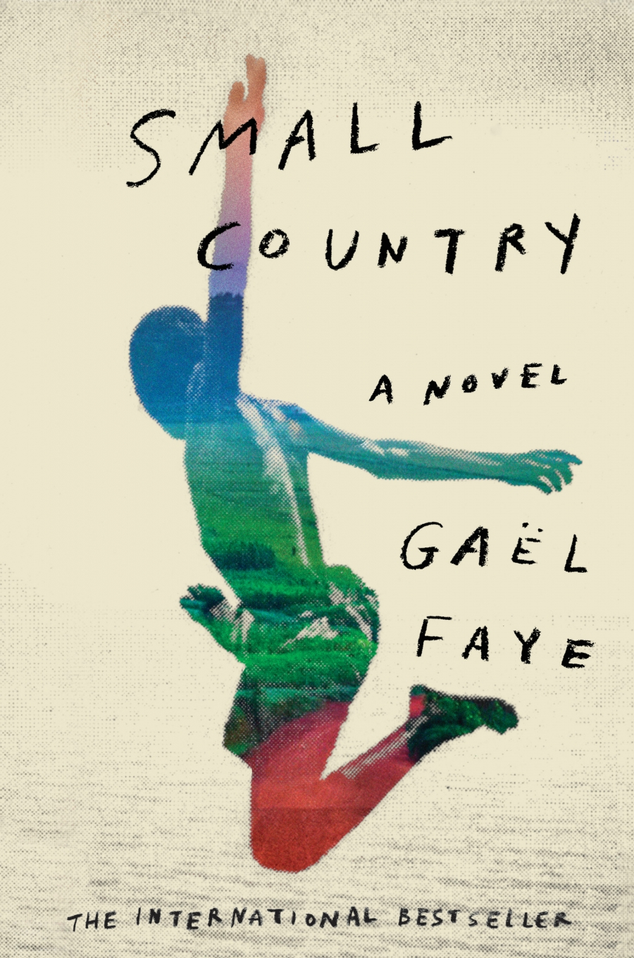 The cover of the novel 'Small Country,' which shows a boyish figure in blue, green and red leaping into the air with arms outstretched.