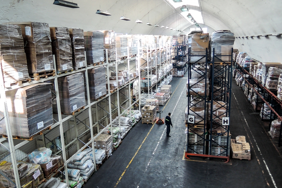 food on shelves at a food bank in buenos aires, argentina