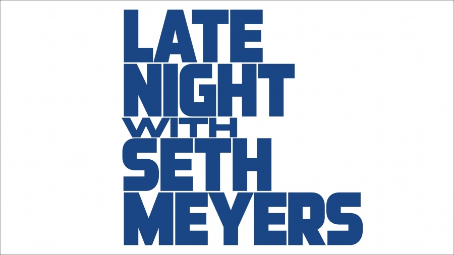 "One possible logo design for ""Late Night with Seth Meyers,"" inspired by the ""CBS Evening News."""