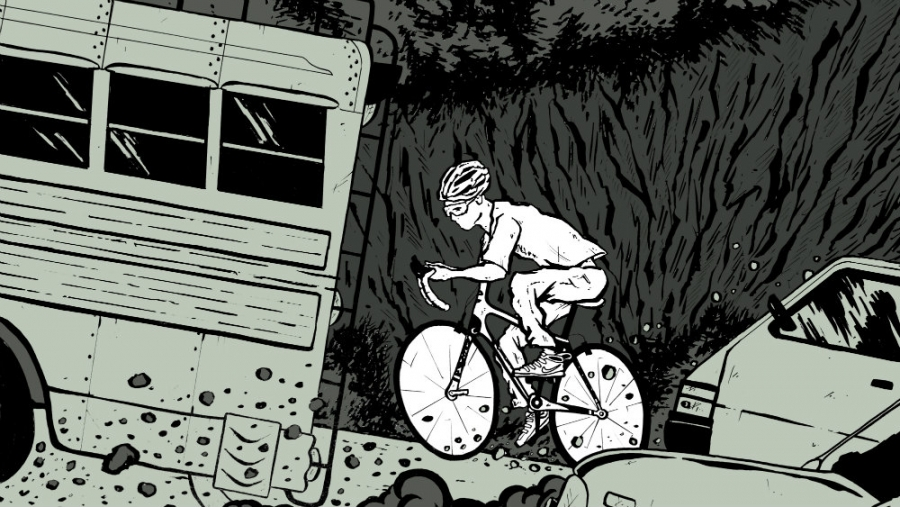 Illustration of a young man riding a bicycle up a hill.
