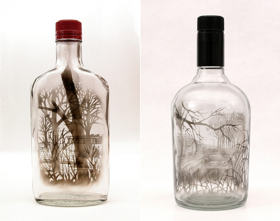 """Midwinter Crossing,"" 2010 and ""Questioning the Open Field,"" 2011, by Jim Dingilian. Smoke inside empty glass bottle."