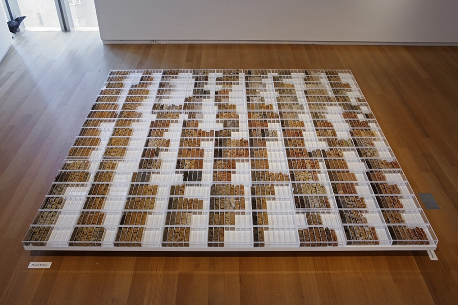 """Correlation Drawing / Drawing Correlations: A Five Borough Reconnaissance Soil Survey,"" 2012, by Margaret Boozer. Dirt collected from the five boroughs of New York."