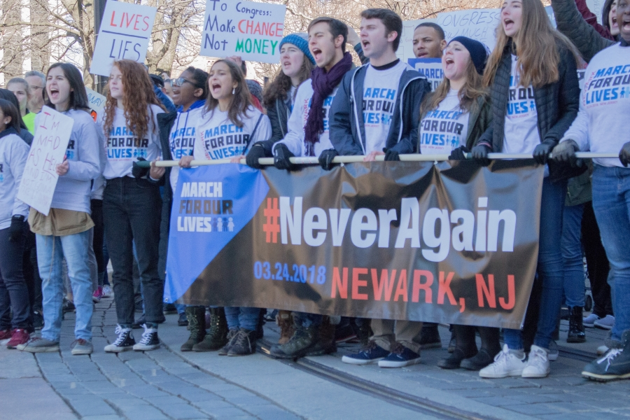 Students lead the Newark March For Our Lives.