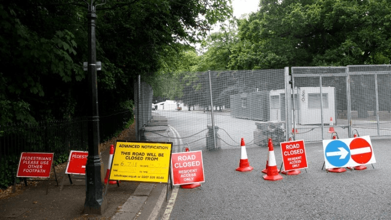 a road is blocked in London ahead of US President Donald Trump's visit