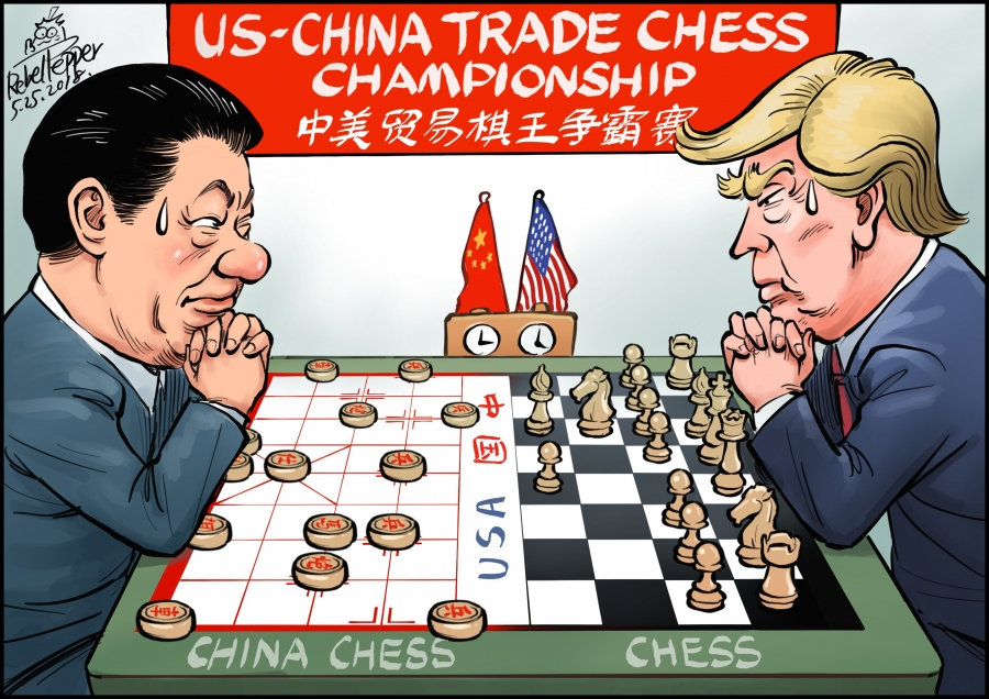 In this cartoon, Xi Jingping of China (left) plays Chinese chess, while Donald Trump (right) plays international chess.