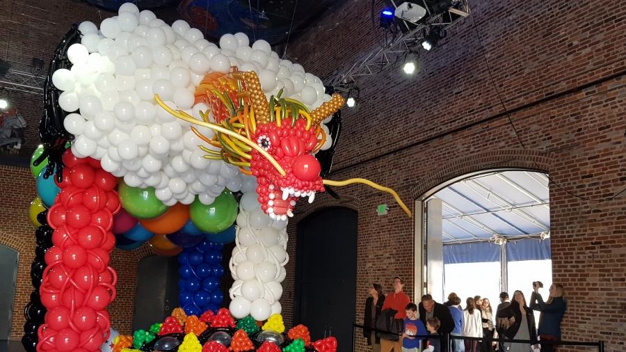 giant red balloon dragon