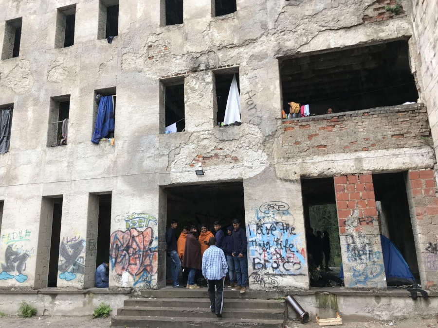 Humanitarian presence at the Bihac dormitory is low and conditions are bleak as migrants wait to cross into Croatia and head on toward Germany.