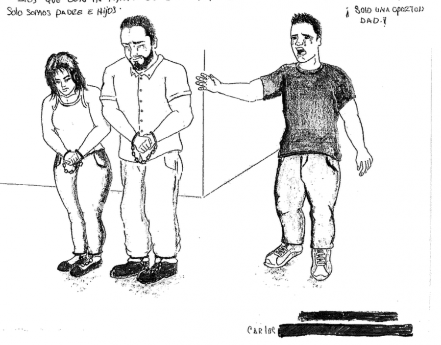 drawing of young woman and man in chains, with young man behind them crying