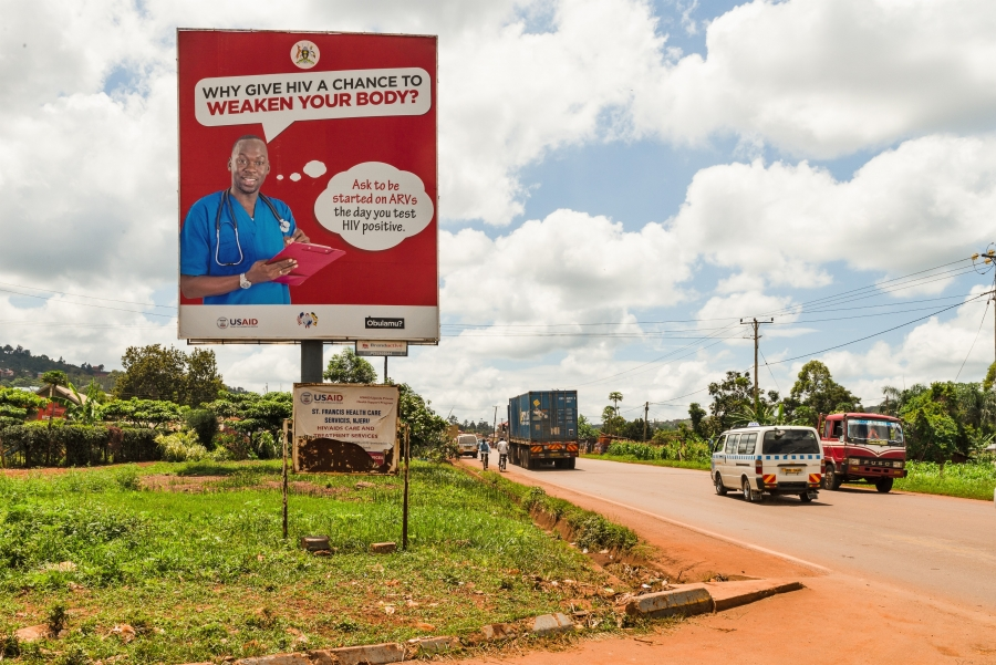 A billboard sponsored by USAID encourages Ugandans to get tested for HIV in Jinja, Uganda.