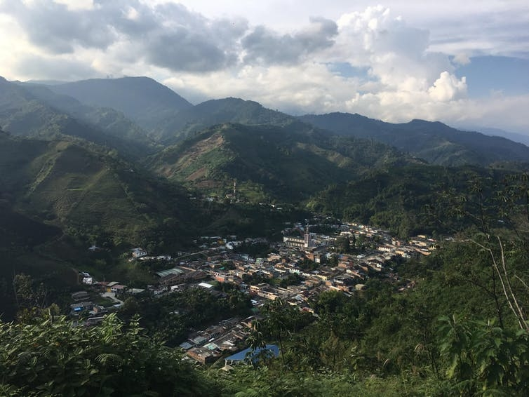 a view of a small coffee-producing town in colombia