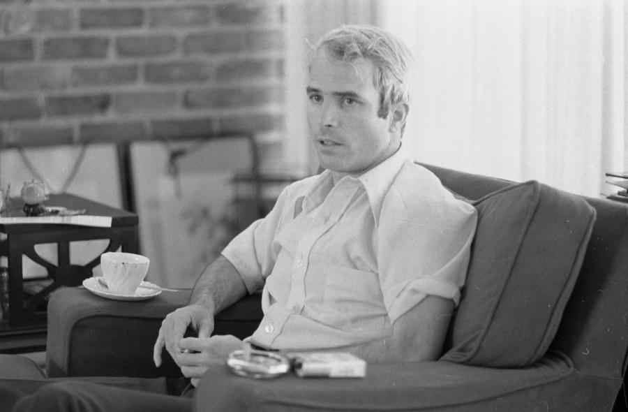 black and white photo of John mccain