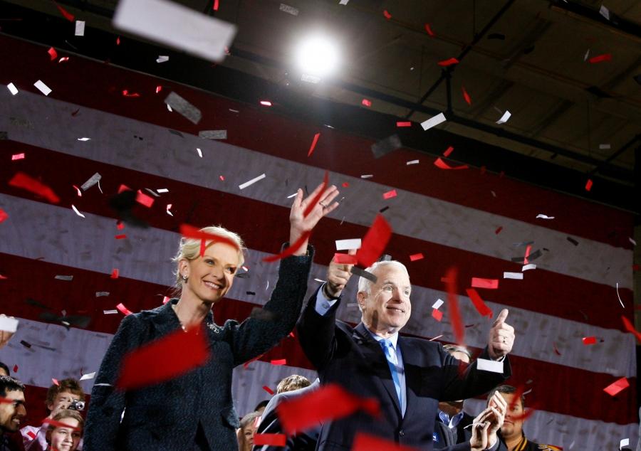 Republican presidential candidate USSenator John McCain (R-AZ) and his wife Cindy celebrate under confetti