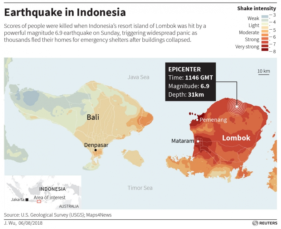 A map of the Lombok earthquake.