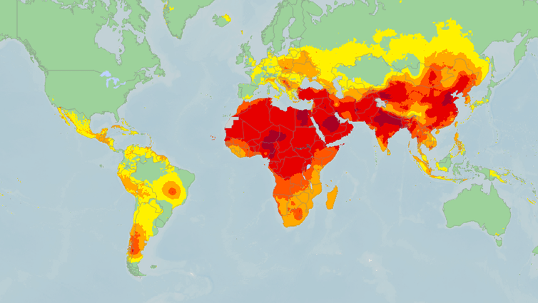 worldwide pollution map