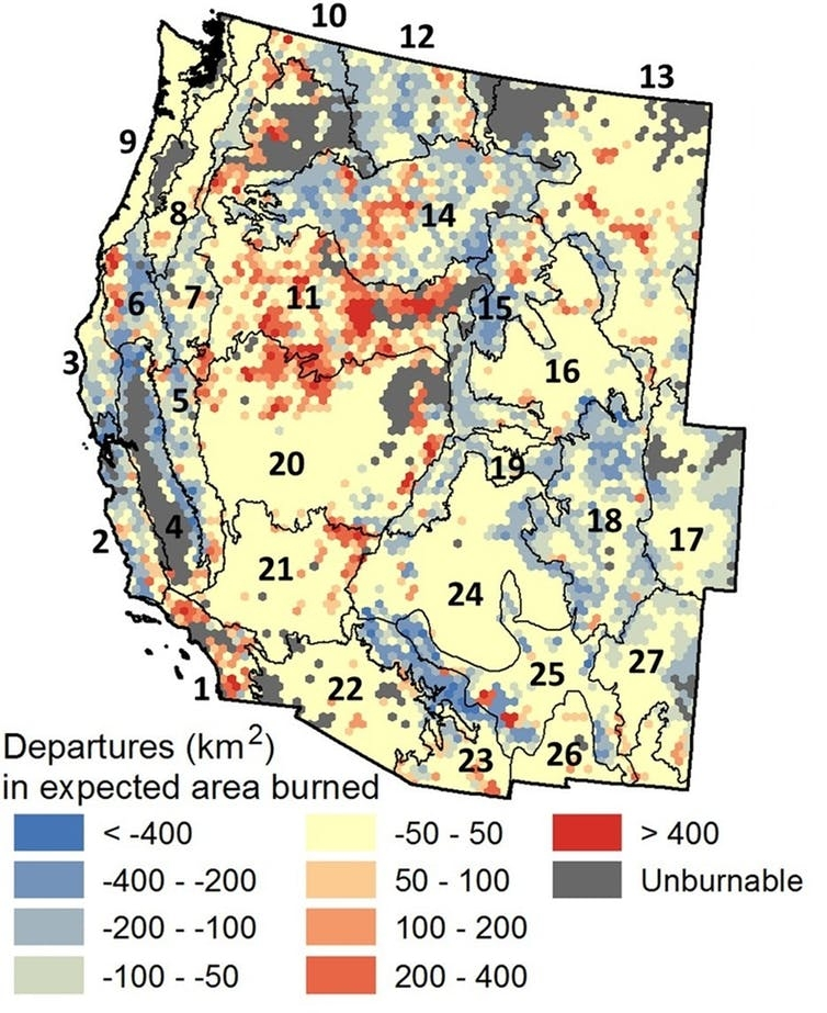 Blue areas on this map experienced fire deficits (less area burned than expected) between 1994 and 2012. Red areas had fire surpluses (more area burned than expected), while yellow areas were roughly normal.