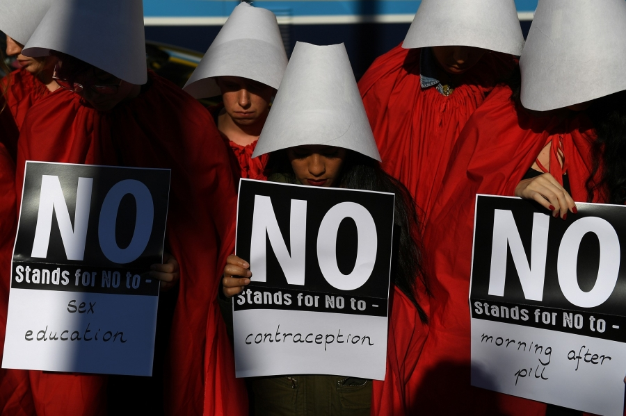 Abortion-rights activists take part in a demonstration ahead of a referendum on abortion law, in Dublin, Ireland May 2018.