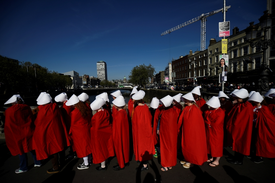 Abortion-rights activists are seen ahead of a referendum on abortion law, in Dublin, Ireland, May 2018.