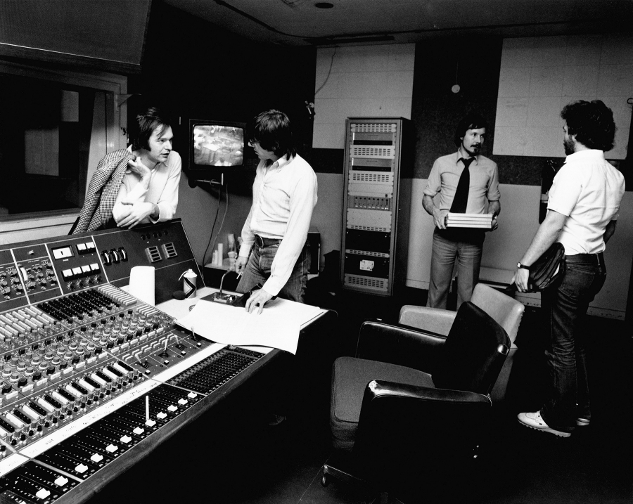 KPM employees including composer Keith Mansfield (second from left) in the control room.