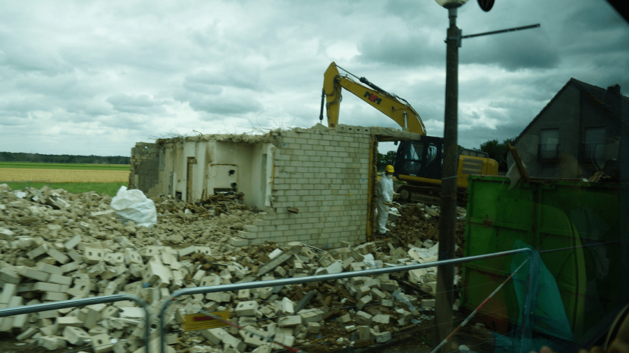 a building being torn down in germany