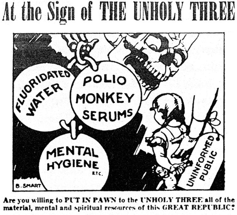 an old newspaper ad touting conspiracy theories