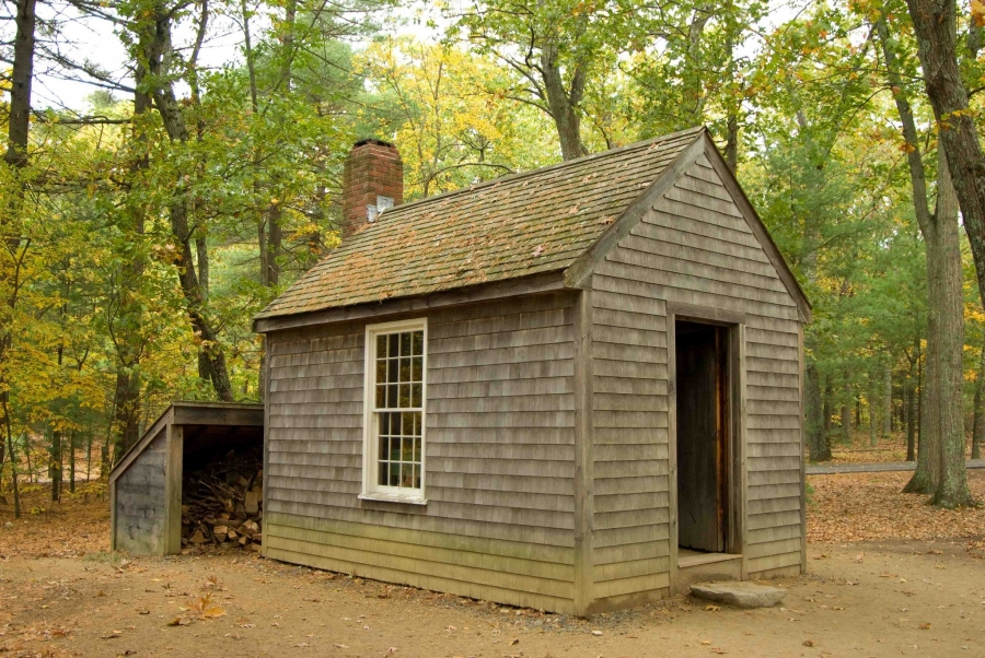 A reconstruction of Thoreau's cabin.