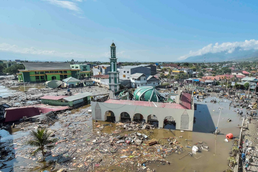 Baiturrahman mosque surrounded by water