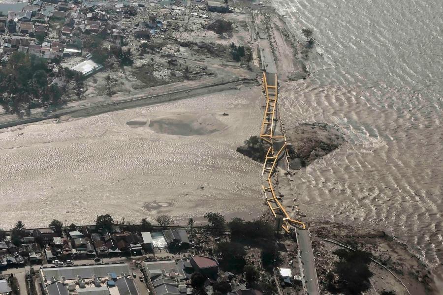 An aerial view shows bridge damaged by an earthquake and tsunami i