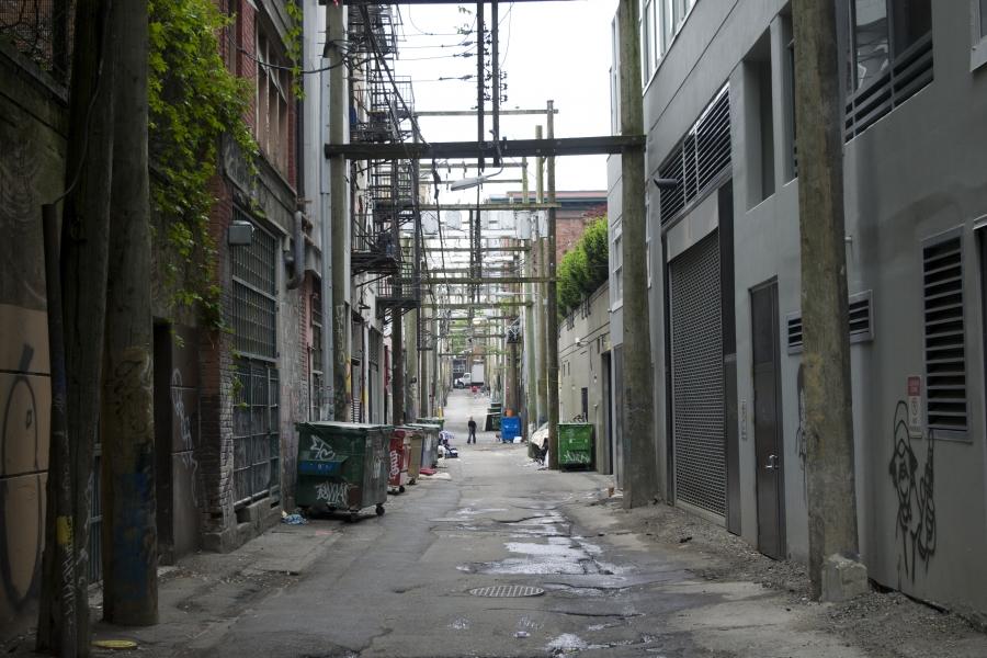 a long alleyway