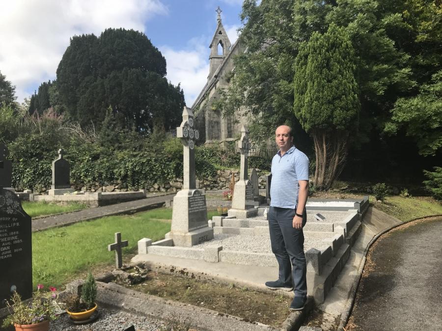 Farmer Damian McGenity in the border village of Jonesborough. The graveyard in Ireland. The church is in Northern Ireland.