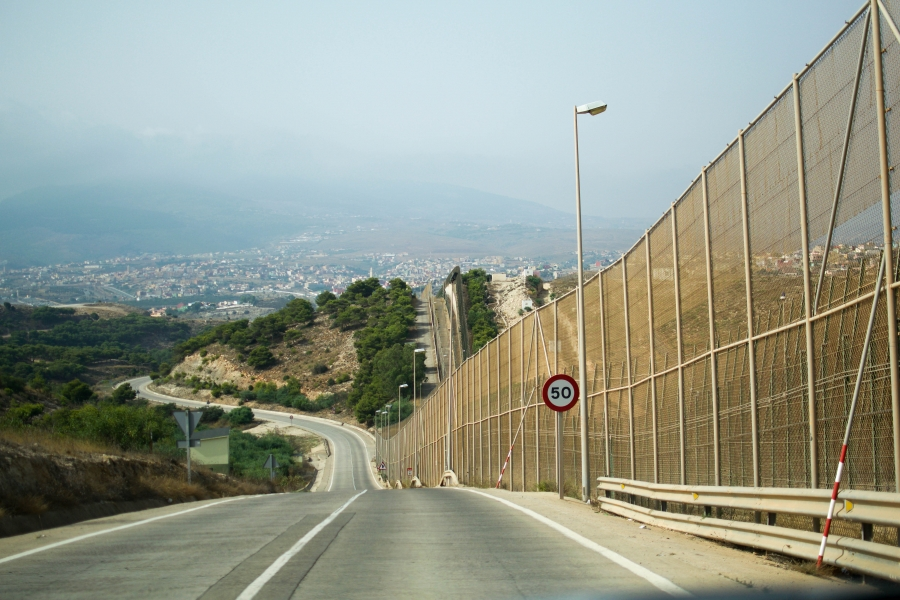 the border fence between morocco and melilla, spain