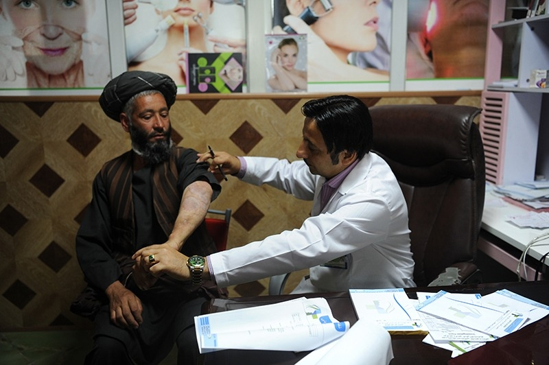 Dr. Zalmai Khan Ahmadzai at his clinic in Kabul, Afghanistan.