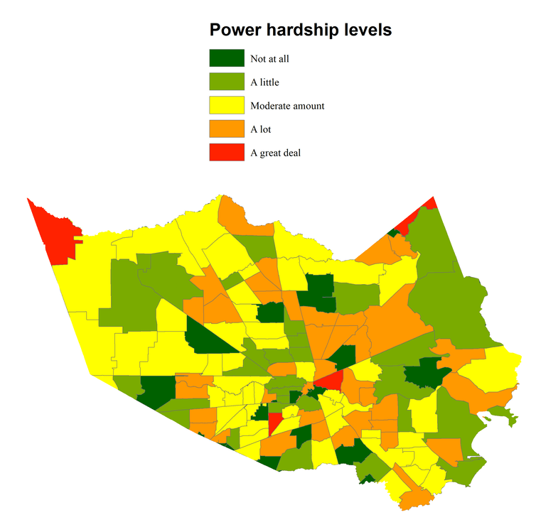 Self-reported hardships due to power outages during Harvey.