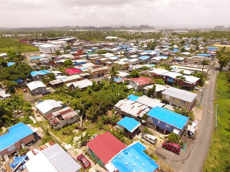 an aerial view of a neighborhood in puerto rico