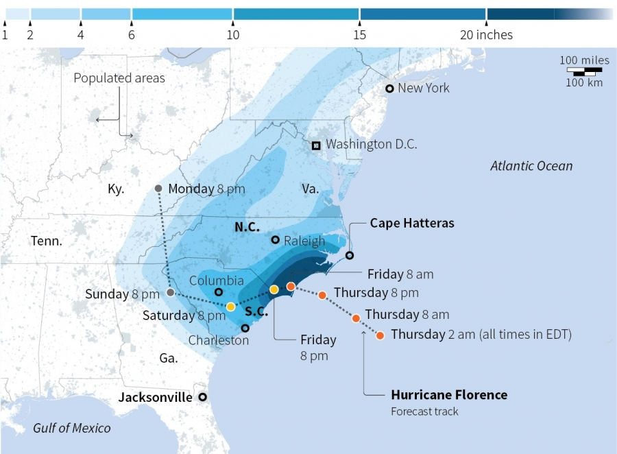 Expected rainfall forecast for Hurricane Florence.