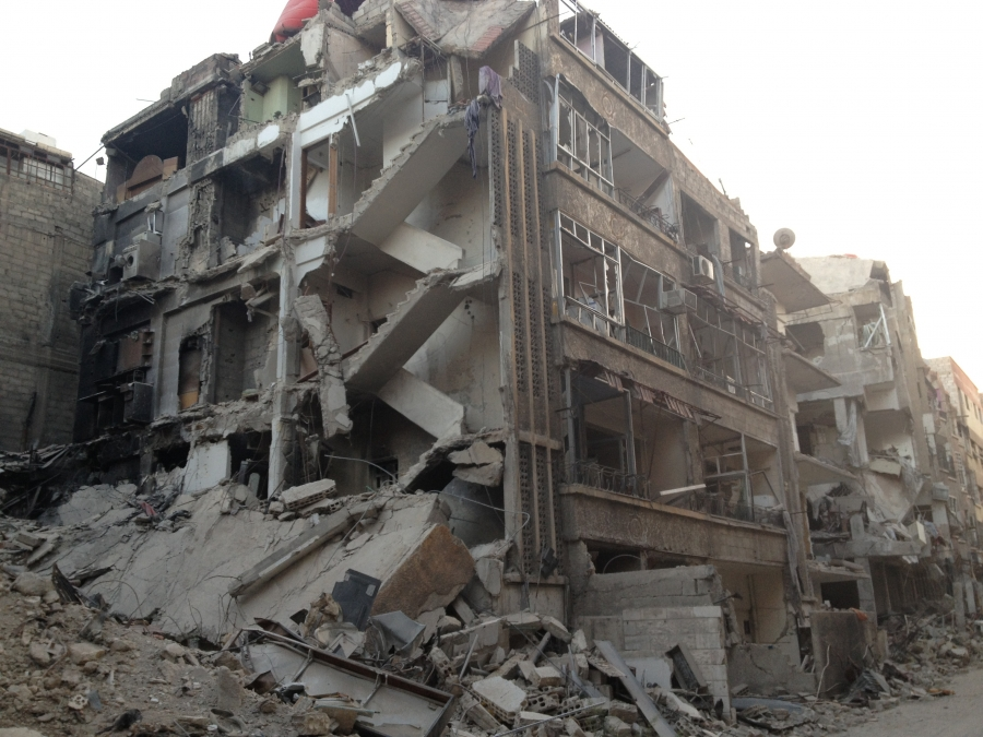 rubble of buildings