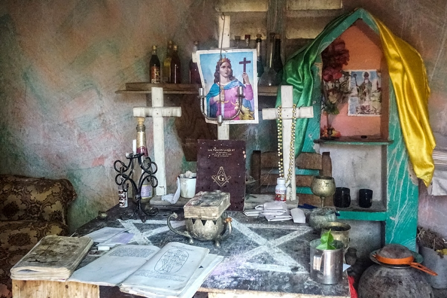 a voodoo shrine in haiti