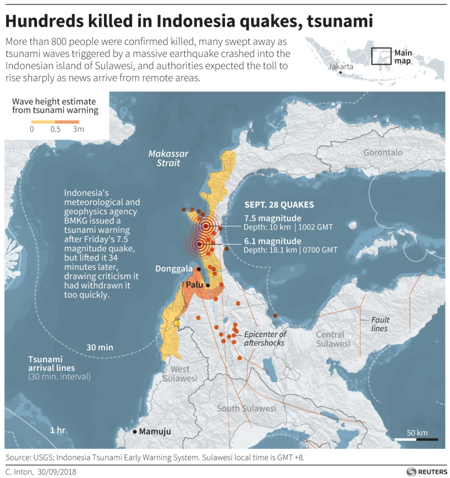 map of the quake in Indonesia