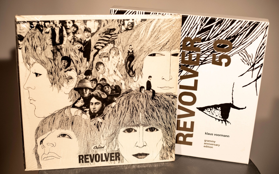 Record covers in pen and ink for the Beatles Revolver