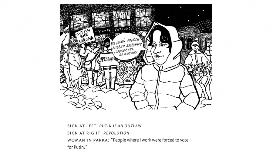 An illustration showing a women, wearing a parka, standing in front of people holding placards.