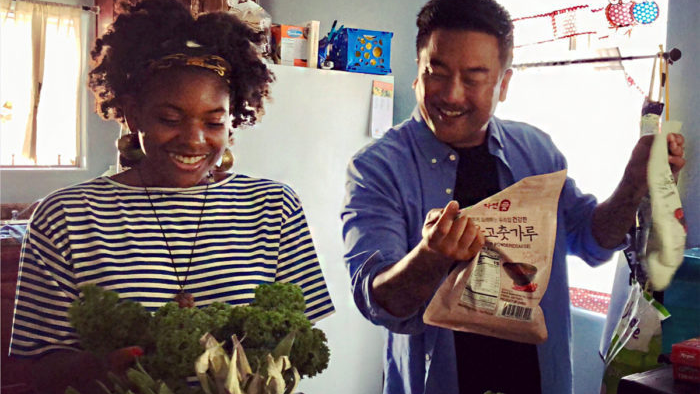 Olympia Auset cooks with chef Roy Choi