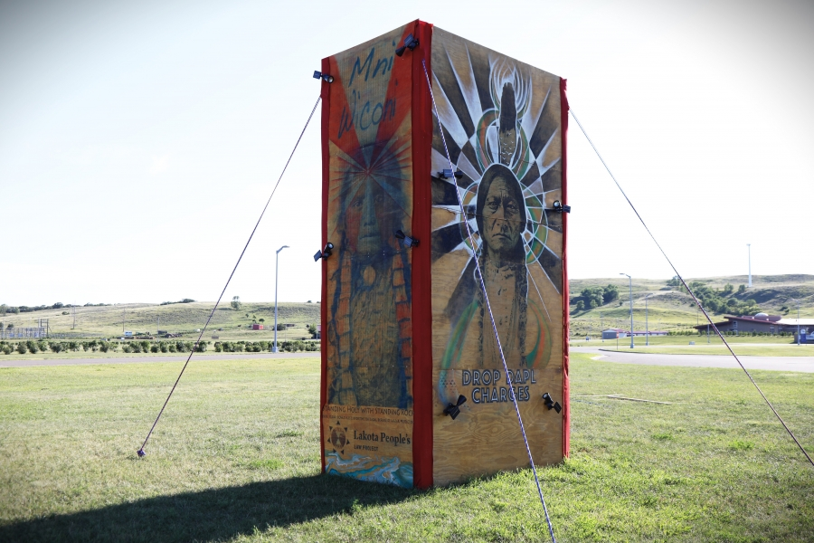 artwork, installed at Sitting Bull College on the Standing Rock reservation, depicts Sitting Bull and his daughter, Standing Holy