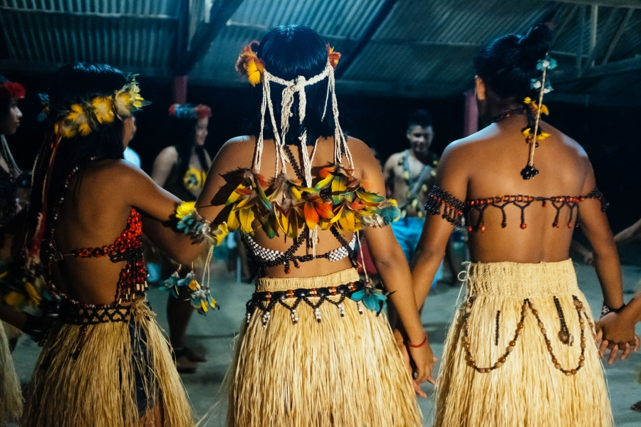 Members of the Munduruku village sing a song blessing the Brazil nut harvest.