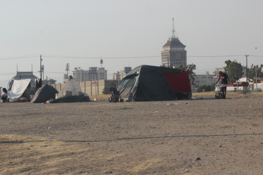 a homeless camp in fresno