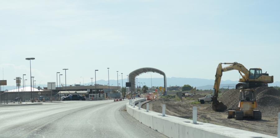 Cars are seen driving through the Presidio–Ojinaga International Bridge