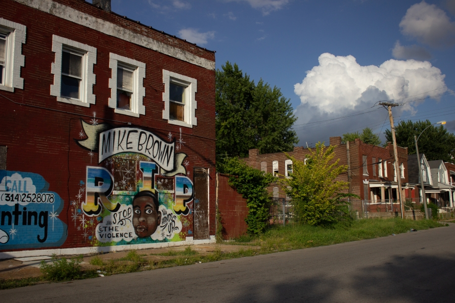 mural of Mike brown in st louis