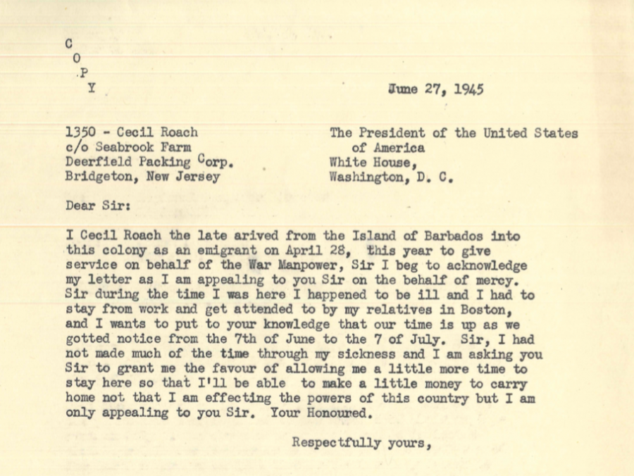 A typed letter on yellowing paper, dated June 27, 1945