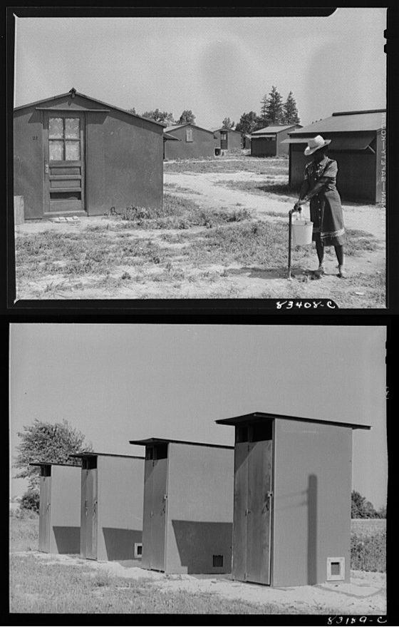 Top shows a woman at a pump in a camp, bottom a row of crude outhouses. Black and white images