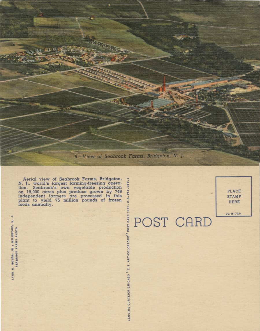 Two sides of a postcard, one showing the farm and the other with some text and space for a note from the sender