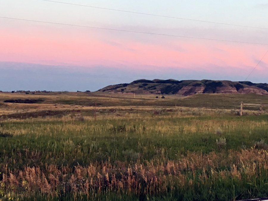 the landscape at dusk near Standing Rock, North Dakota