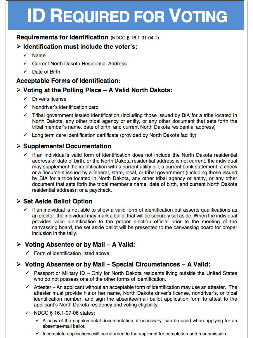 north dakota voter id rules